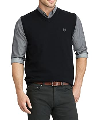 Chaps Mens Classic Fit Lightweight Sweater Vest Solid Black at ...