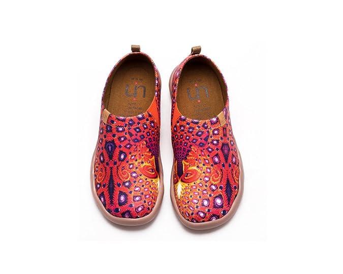 52dd0870 UIN Ojos Zapatos de Cuero Pintados Naranja para Las Mujeres (39):  Amazon.es: Zapatos y complementos