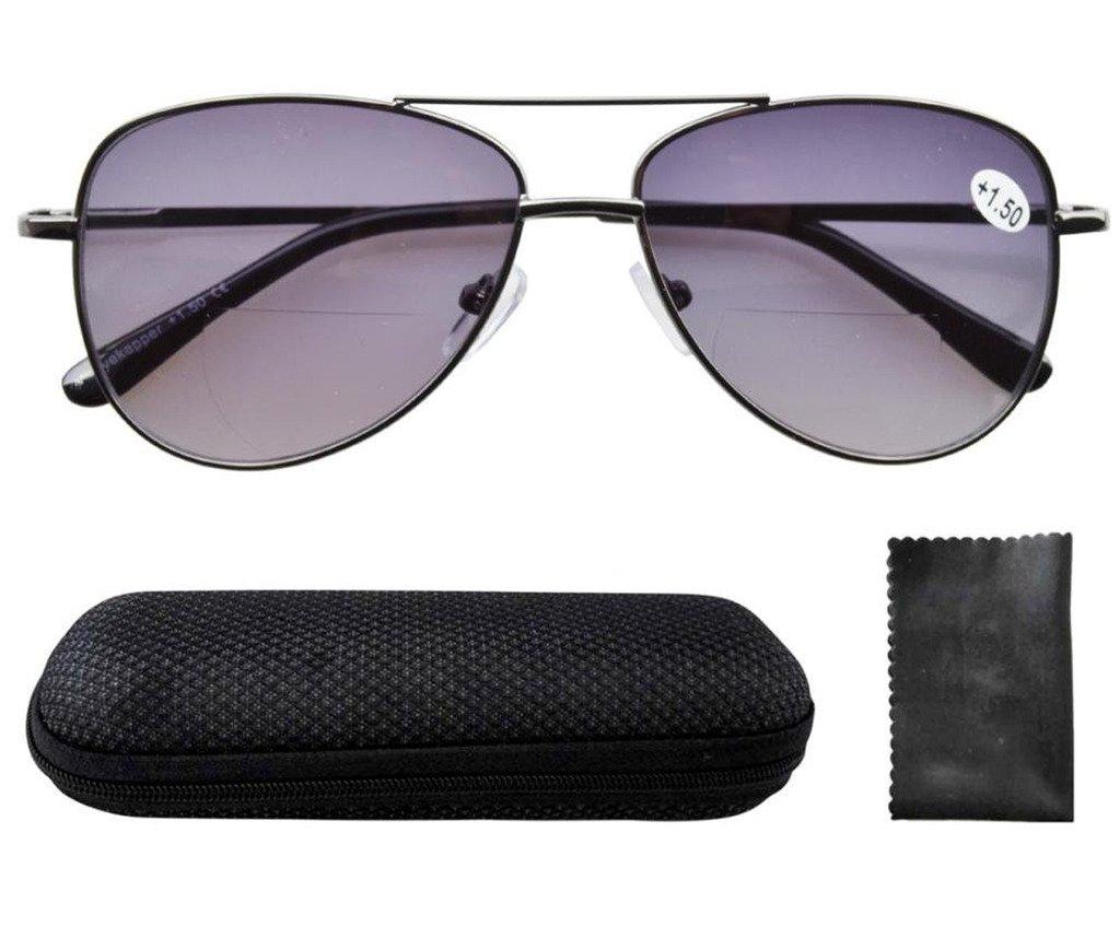 TALLA +1.50. Eyekepper Gafas de lectura con bisagras de resorte lentes policarbonato estilo piloto bifocal lentes grises +1.5