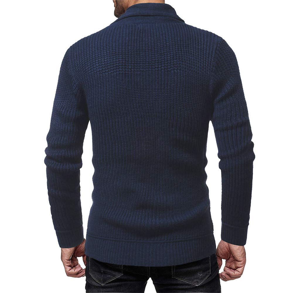 AKIMPE Fashion Mens Autumn Winter Solid Pullover Knitted Trutleneck Sweater Blouse Top