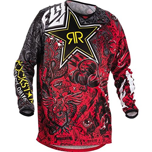 Fly Kinetic Gloves - Fly Racing Rockstar Black-Charcoal Rockstar 2018 Kinetic Mx Jersey (Xl , Black)