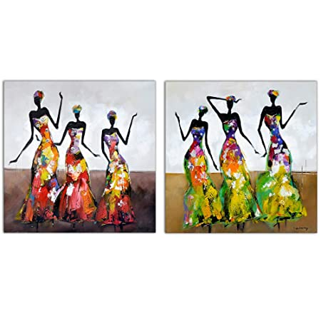Abstract Series African American Dance Afro Women Black Art Oil Painting for Livingroom Wall Art,Hand-painted Artwork Thick Canvas Home Wall Decoration, Gallery wrapped Pine Wooden Frame Ready to Hang