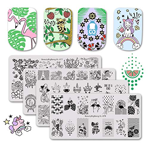 BEAUTYBIGBANG 4Pcs Nail Stamping Plate Summer Animal Theme - Flamingo Unicorn Owl Tiger Image Patterns Nail Art Design Stamp Kit Manicure Template Set