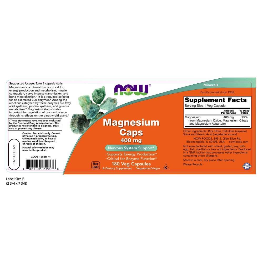 Now Foods | Cápsulas de Magnesio | 400 mg | 180 Cápsulas vegetarianas | sin gluten y soja: Amazon.es: Salud y cuidado personal