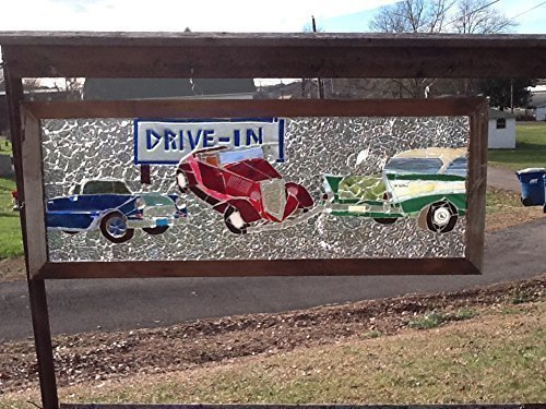 Classic Car Stained Glass Window Art Sun Catcher by Mountain Mosaics