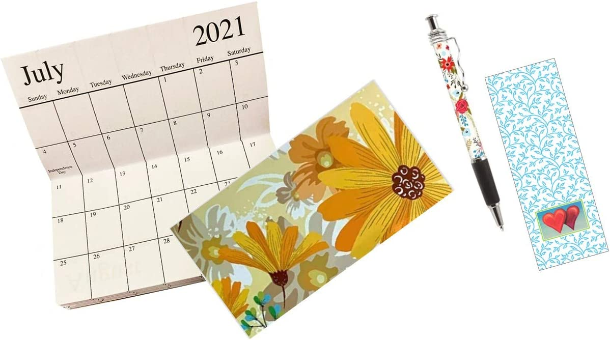 2022 Pocket Calendar Printable.2 Year Pocket Calendar 2021 2022 And Custom Print Ink Pen Set Yellow Floral Amazon In Office Products
