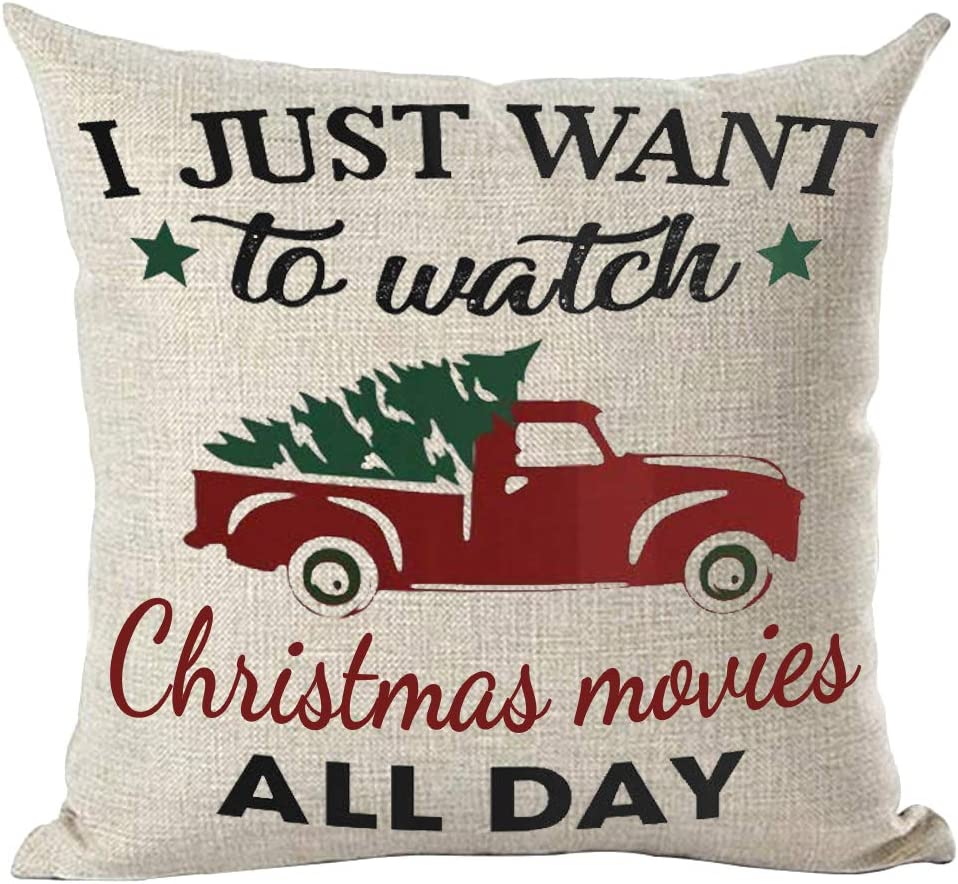 ramirar I Just Want to Watch Christmas Movies All Day Watercolor Red Pickup Truck Pine Tree Decorative Throw Pillow Cover Case Cushion Home Living Room Bed Sofa Car Cotton Linen Square 18 x 18 Inches