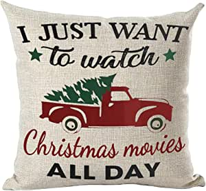 ramirar Hand Painted Watercolor Red Pickup Truck Just Watch Christmas Movies All Day Tree Decorative Throw Pillow Cover Case Cushion Home Living Room Bed Sofa Car Cotton Linen Square 18 x 18 Inches