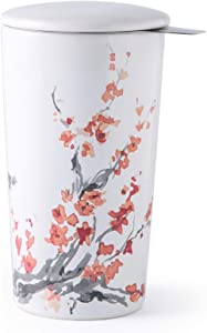 GBHOME Double-layered Ceramic Tea Cup with Infuser and Lid, Insulated Tea Infuser Cup with Decal for Women/Men/Office/Home/Gift, Cherry Blossoms