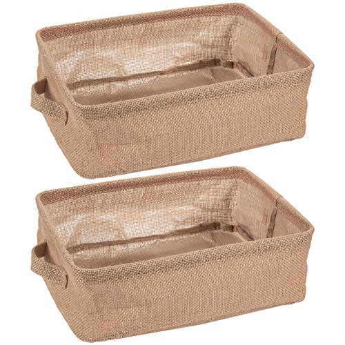 Juvale Collapsible Storage Bin Basket - 2 Pack - Fabric Linen Cloth Storage Basket with Handles - Perfect for Underbed, Magazine, Shelves, Closet, Magazine, Storage | Beige, 12.25 x 9.75 x 4.5 Inches (Baskets Under Bed)