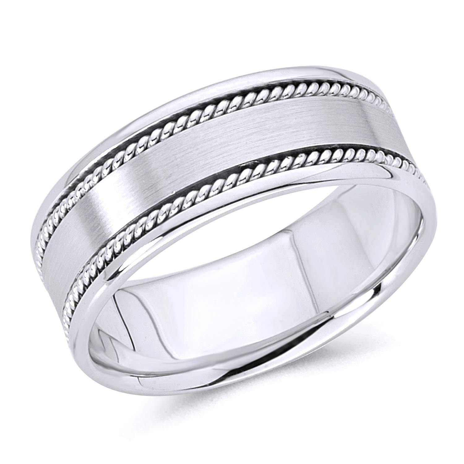 Wellingsale 14k White Gold Polished Satin 8MM Rope Design Comfort Fit Wedding Band Ring - Size 11.5 by Wellingsale