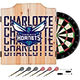Trademark Gameroom NBA7010-CH3 NBA Dart Cabinet Set with Darts & Board - City - Charlotte Hornets