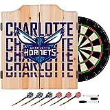 Trademark Gameroom NBA7010-CH3 NBA Dart Cabinet Set with Darts & Board - City - Charlotte Hornets