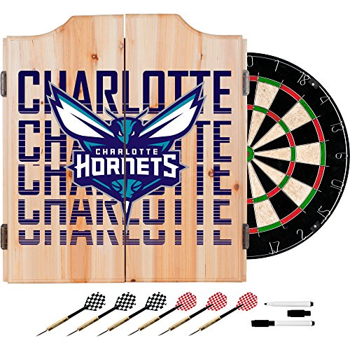 Trademark Gameroom NBA7010-CH3 NBA Dart Cabinet Set with Darts & Board - City - Charlotte Hornets by Trademark Global
