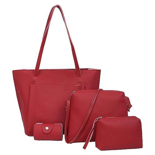 Amazon.com  Aelicy Four Set Handbag Shoulder Bags Four Pieces Tote Bag  Crossbody Wallet Female Bag Women Leather Handbags Messenger Bag Color Red   Shoes d3ea793684cb8