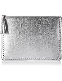 Cora Studded Leather Flat Clutch with Tasseled Zipper