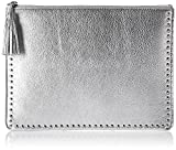 The Fix Cora Studded Leather Flat Clutch with Tasseled Zipper, Silver/Metallic