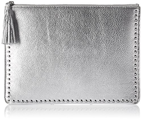 The Fix Cora Studded Leather Flat Clutch with Tasseled Zipper, (Clutch Silver Leather Handbags)
