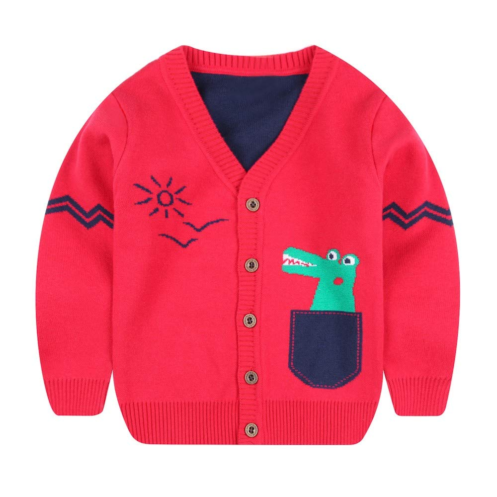 Jchen(TM) Baby Infant Little Boy Girl Dinosaur Sweaters Soft Warm Kids Autumn Winter Cardigan Coat for 1-5 Y (Age: 12-18 Months, Red)