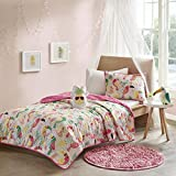 4 Piece Girls Modern Classic Animal Print Floral Pattern Coverlet Set Full/Queen, Contemporary Casual Novelty Bird Printed Design, Vibrant Geometrical Theme, Unique Bedding, Adorable Pink, Multi Color