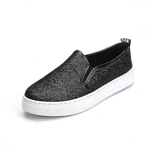 Pisos de Mujer Zapatos de Plataforma Mocasines Primavera Otoño Resbalón en Plano Glitter Casual Bling Lentejuelas Paño Calzado cómodo: Amazon.es: Zapatos y ...