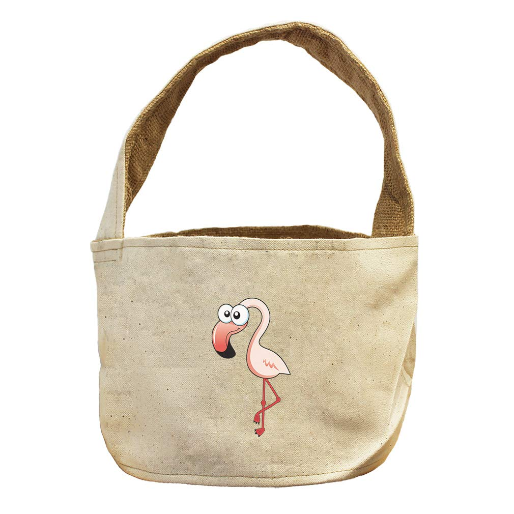 Style in Print Pink Flamingo Animals Canvas and Burlap Storage Basket