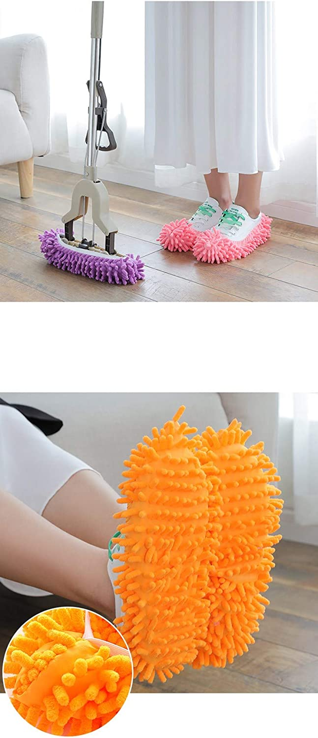 F-BBKO Mop Slippers Shoes Cover 12pcs 6 Pairs Soft Washable Reusable Microfiber Foot Socks,Floor Dust Dirt Hair Cleaner for Bathroom Office Kitchen House Polishing Cleaning