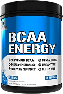 Evlution Nutrition BCAA Energy - High Performance Amino Acid Supplement for Anytime Energy, Muscle Building, Recovery & Endurance, Pre Workout, Post Workout (Blue Raz, 65 Servings)