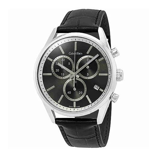 Calvin Klein formalidad negro cuero negro Dial analógico de cuarzo reloj de pulsera para hombre k4 m271 C3: Amazon.es: Relojes