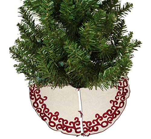 Miyanbazaz Textiles Cotton Christmas Tree Skirt (Beige, 48inch)