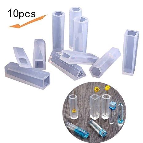 Tenlife - 10 moldes de silicona de cubo largo cuadrado cilíndrico en forma de triángulo para