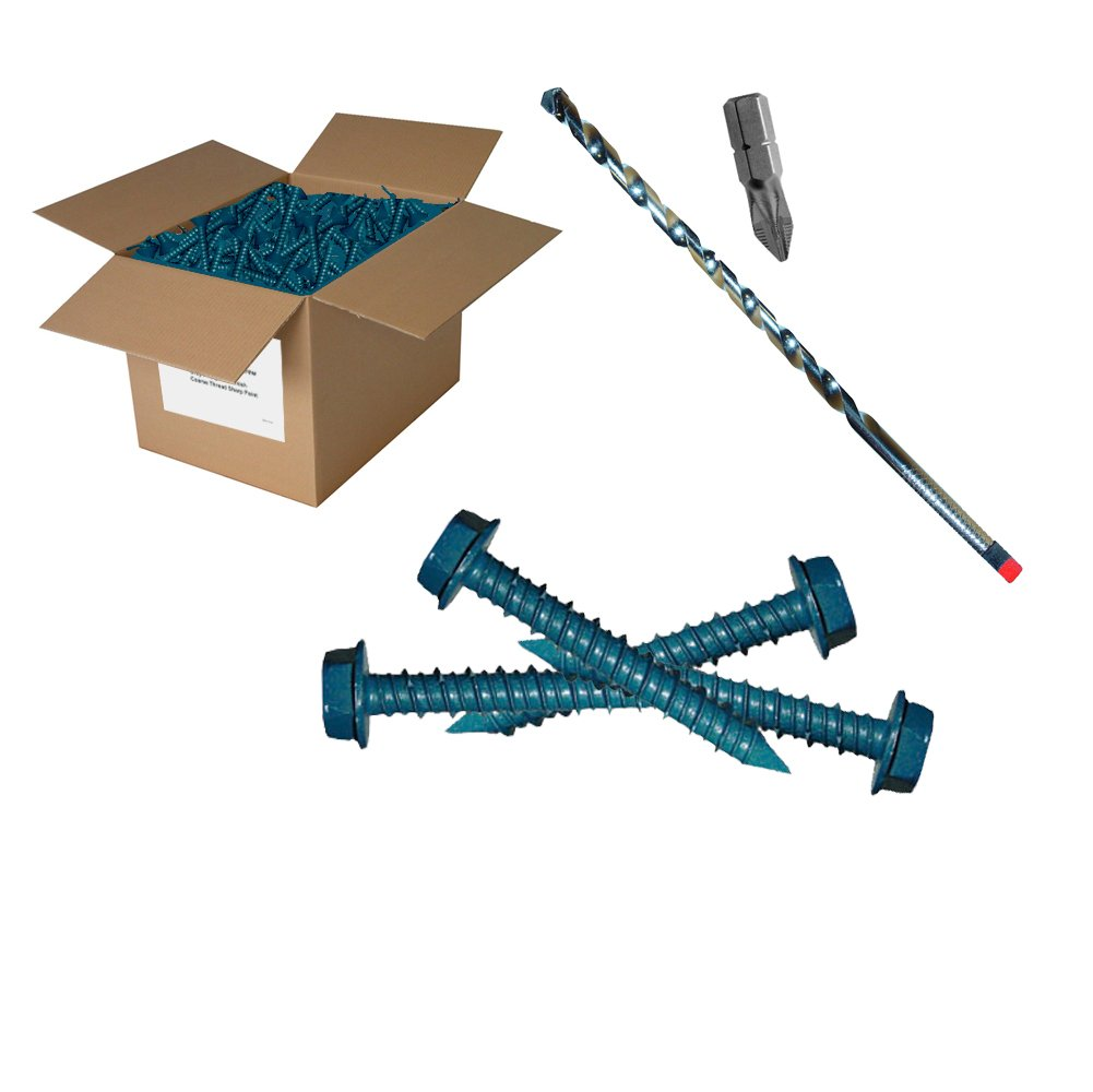 500 pc 1/4x1-3/4'' HEX Concrete Screw
