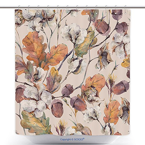 vanfan Cool Shower Curtains Watercolor Autumn Vintage Background With Twigs Cotton Flower Yellow Oak Leaves And Acorns Polyester Bathroom Shower Curtain Set With Hooks(69 x 84 inches)