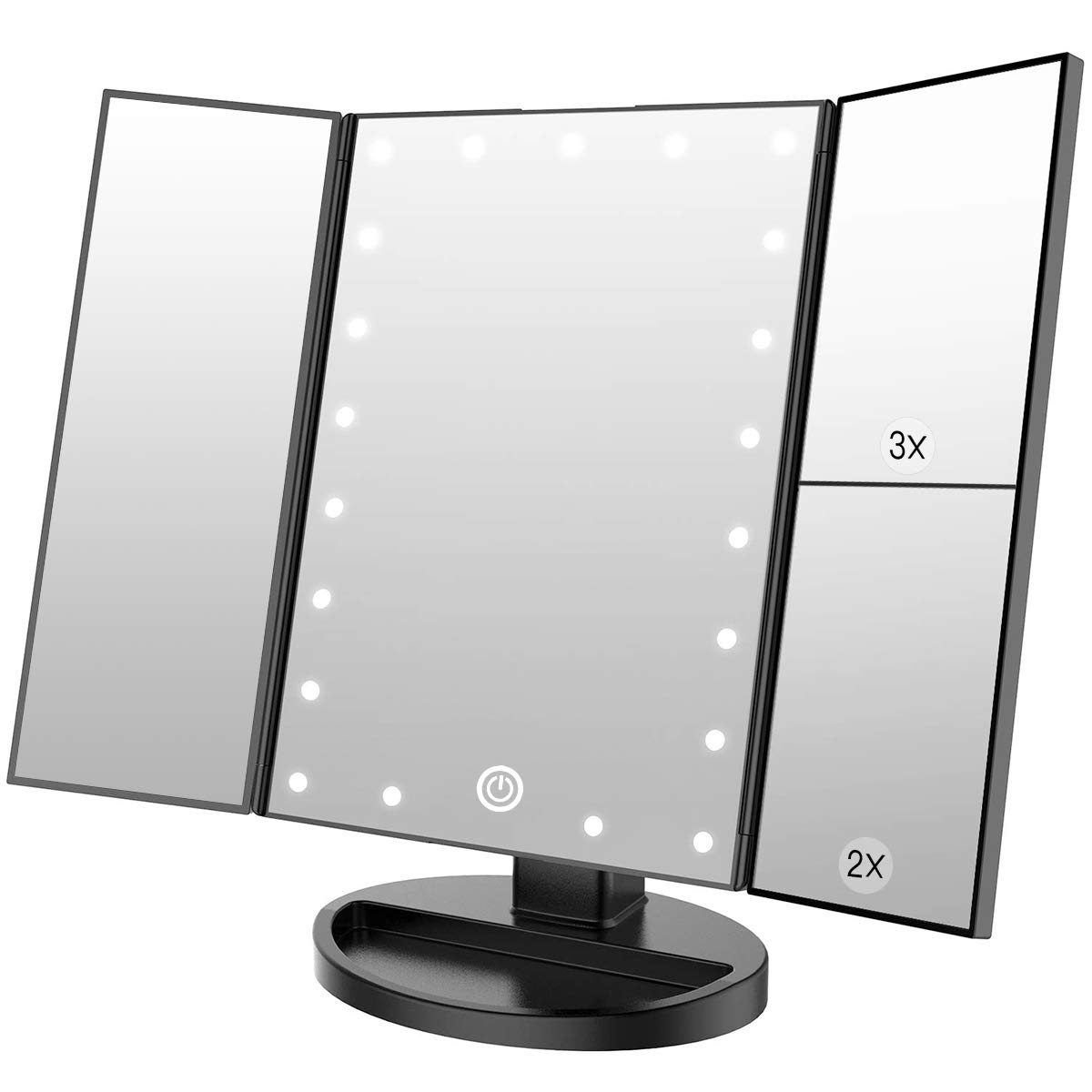 WEILY Makeup Vanity Mirror with 21 Led Lights, Trifold Dual Power Magnifying LED Lighted Cosmetic Mirrors (Black)