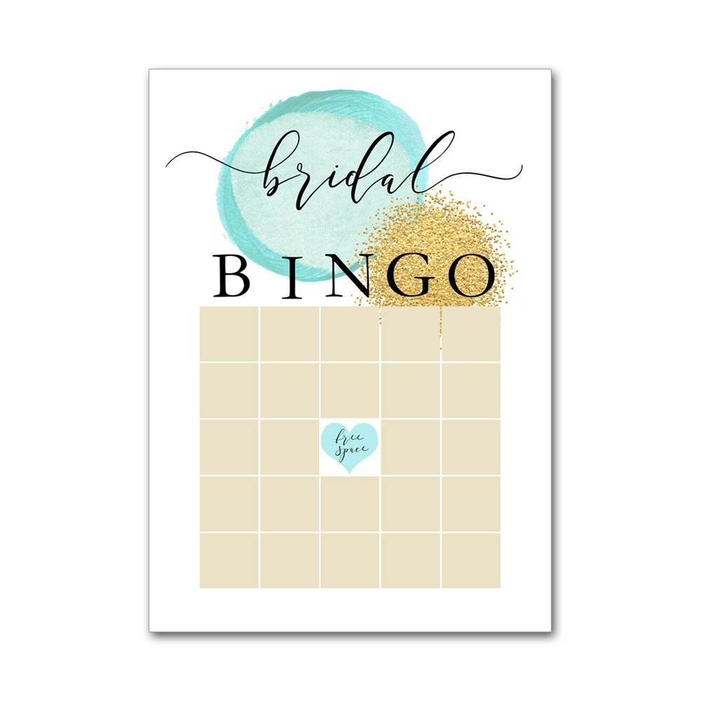 Bingo Game Cards for Bridal Wedding Showers with Watercolor Aqua and Gold Glitter Dot Ocean Beach BBG8032