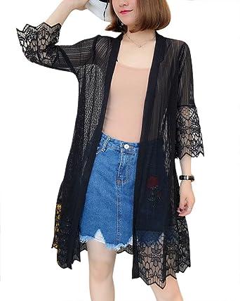 frische Stile wie man serch neue angebote Liangzhu Damen Slim Fit Perspektive Long Cardigan Sommer ...