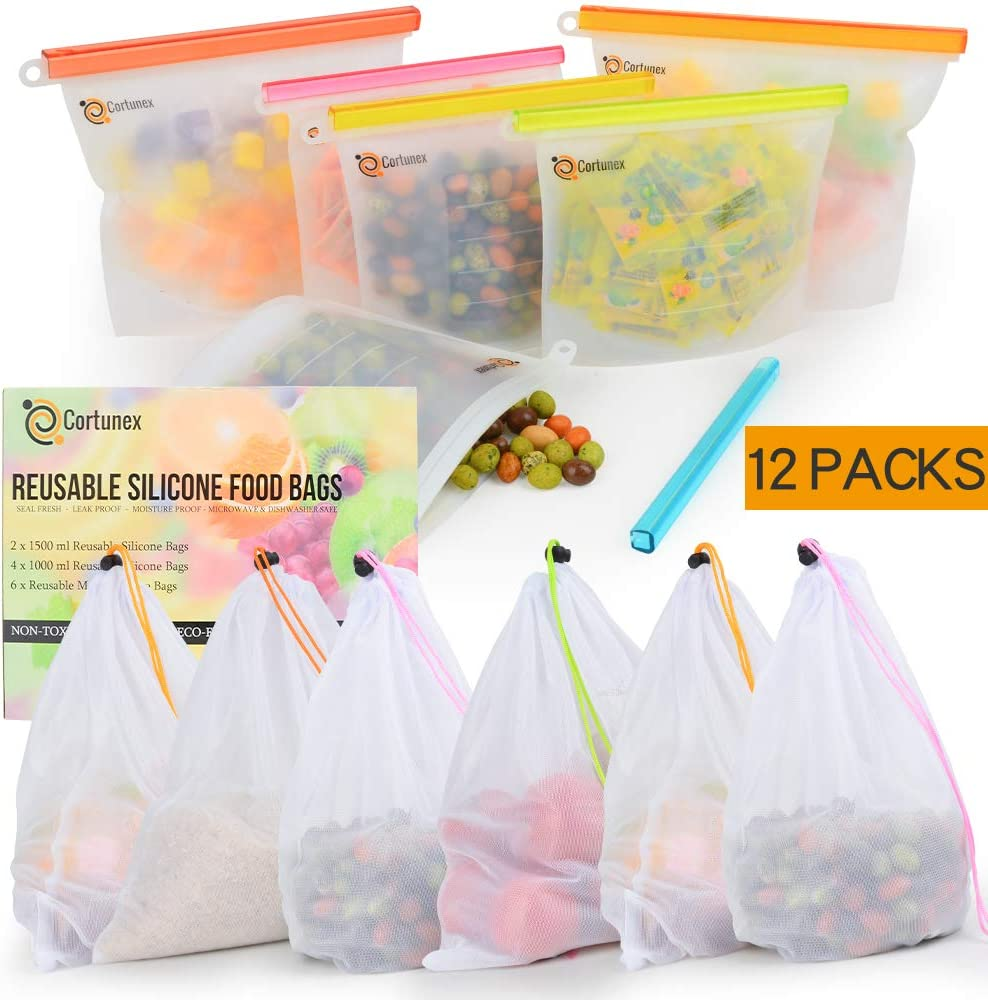 Reusable Silicone Food Storage Bags Set Of 6 Bundle With 6 Mesh Bags Eco Friendly, Human Friendly And Cost Saving Reusable Food Storage Food Grade Silicone Sandwich Bags, Lunch Bags