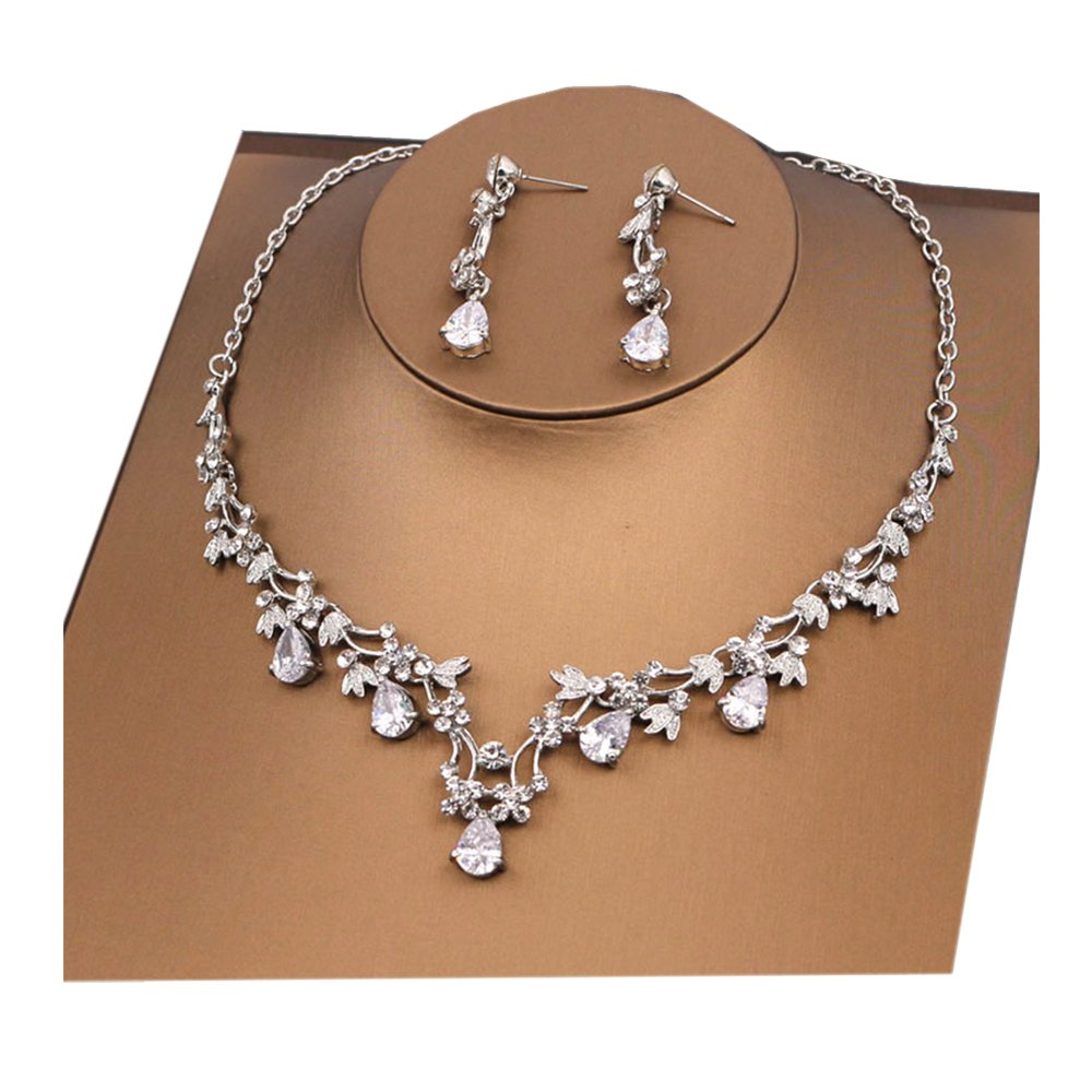 Zircons CZ Crystal Necklace and Earrings Bridal Party Jewelry Set For Wedding Evening