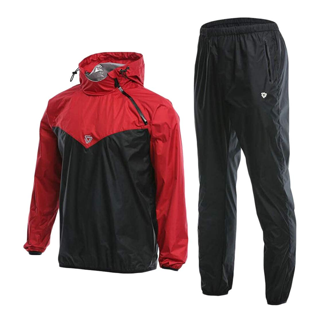 Red L H&E Men Gym Fit Hoodie Wicking 2PCS Sports Tracksuit Set