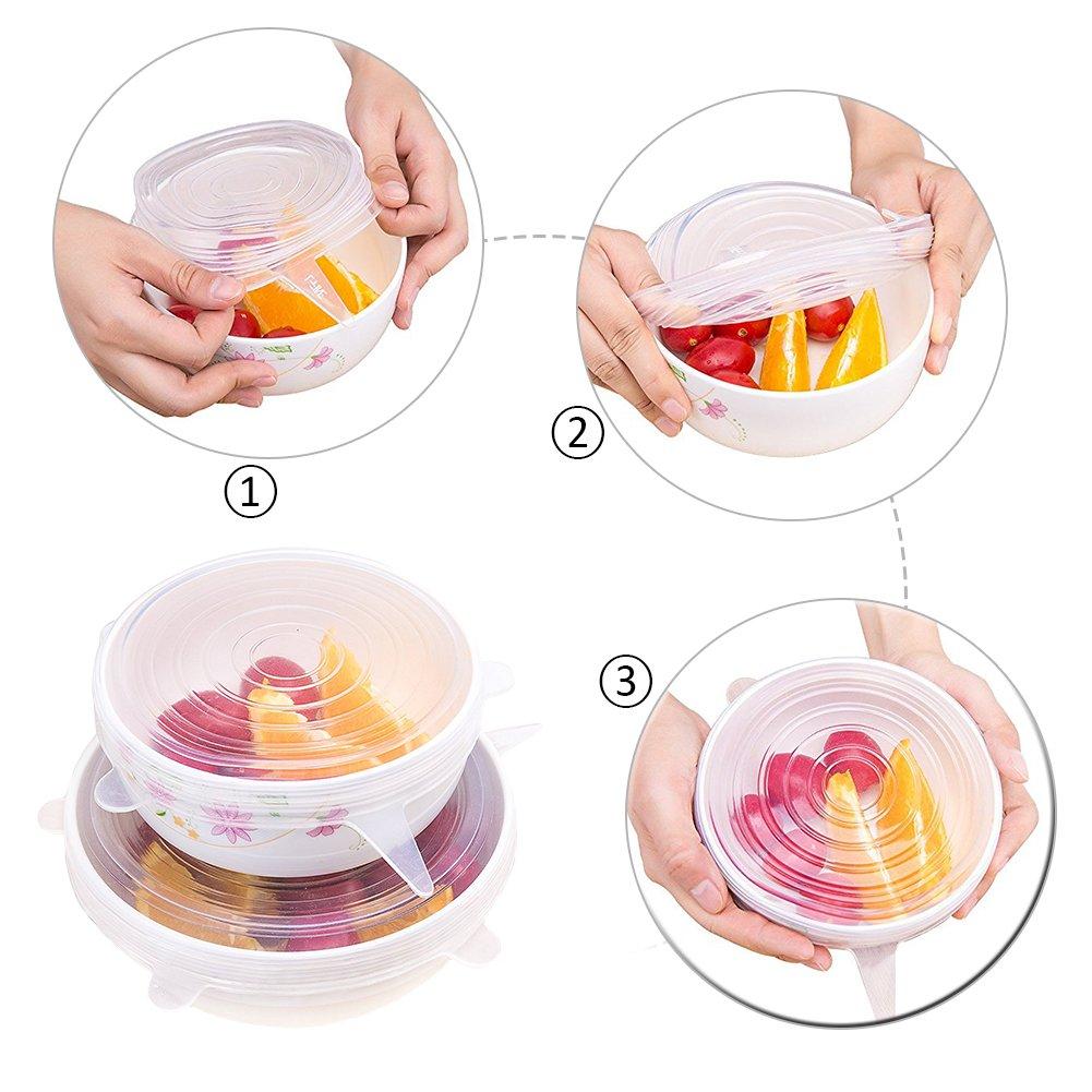 microonde 12PCS con coperchio in silicone elasticizzato per pentole e padelle con manico lungo trasparente//Blu silicone aspirazione coperchi Coprivivande set ciotole per mantenere il cibo fresco