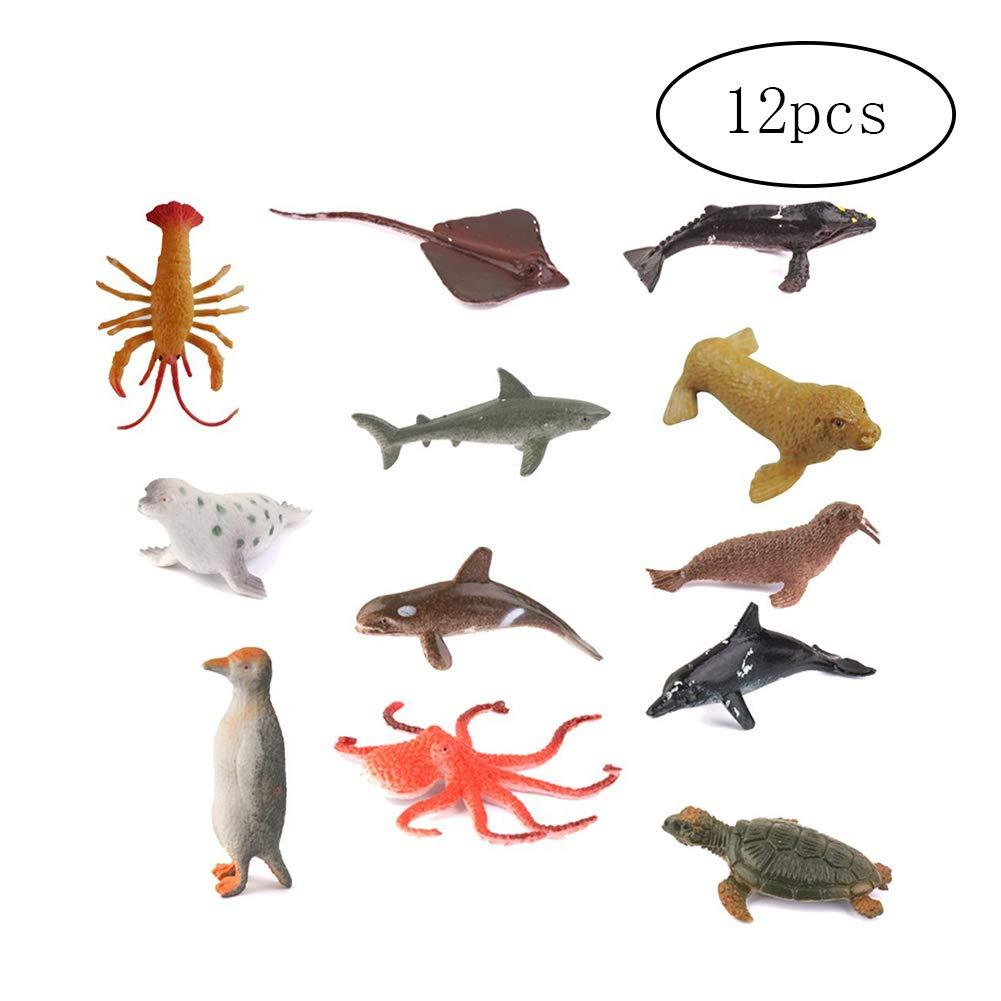Homiki Sungpunet Giocattolo educativo per i Bambini 12 Animali marini plastica impostati da 4,5 a 7 cm