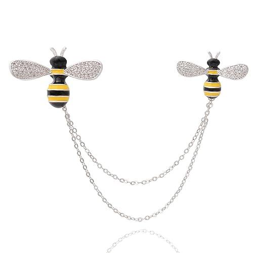 158465f9fe7 OBONNIE Silver Tone Crystal Enamel Honey Bee Brooch Collar Pins with Tassel  Sweater Cardigan Clips Pin