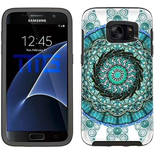 Skin Decal for Otterbox Symmetry Samsung Galaxy S7 Edge Case - Mandala Circles Aqua Blue on White Sales