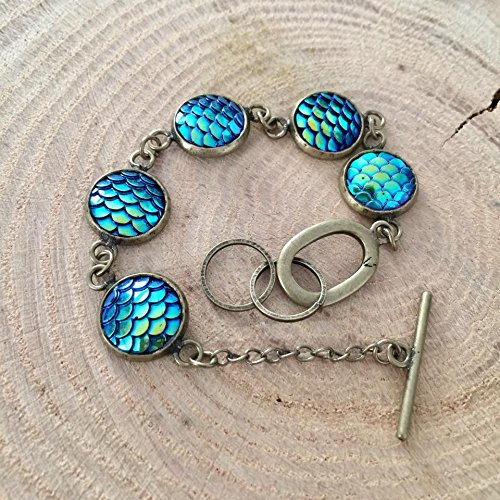 [Blue Green Mermaid Fish Dragon Scales Antique Bronze Tone Bracelet] (Banshee Costume Ideas)