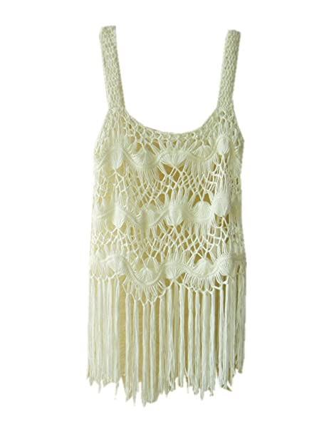 079b52c59237a tinacrochetstudio Hippie Fringe Vest Crochet Crop Top at Amazon Women s  Clothing store