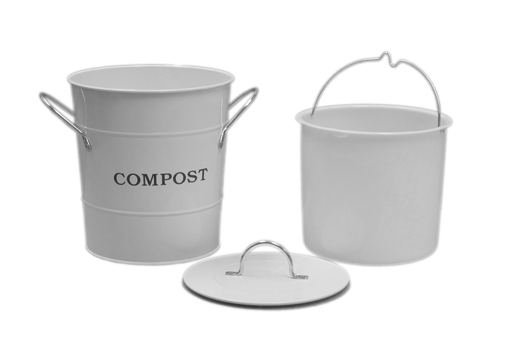 Exaco Trading Company CPBW01 2-In-1 Indoor Compost Bucket, 1 gallon, White