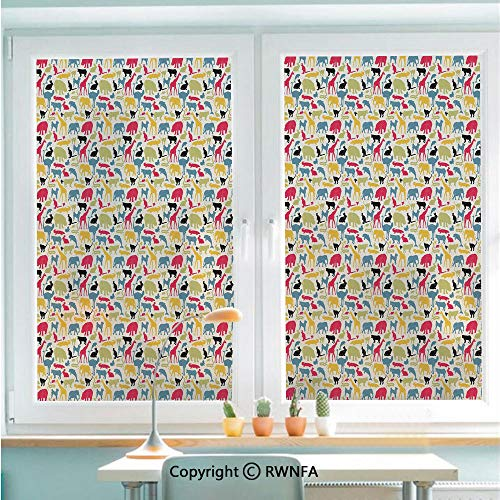 Removable Static Decorative Privacy Window Films Retro Style Grunge Composition with Different Animals Australia Fauna Jungle Nature for Glass (22.8In. by 35.4In),Multicolor