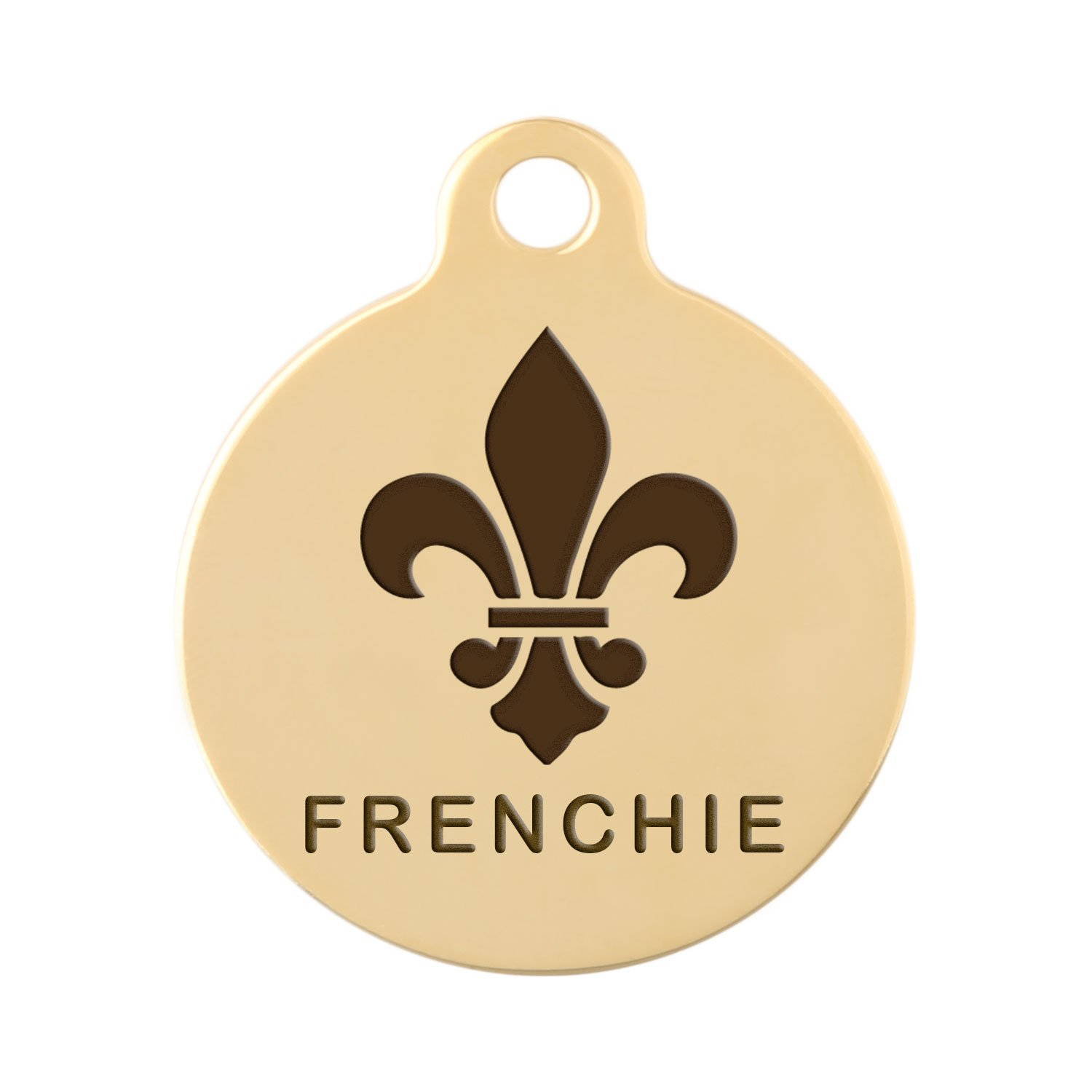 dogIDs Signature Engraved Fleur De Lis Dog ID Tag - Gold Plated Brass - 1.25 Inch Diameter