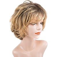 Lurrose Peruca feminina natural curta encaracolada capa de peruca de fibra realista moda ferramentas de cabeleireiro…