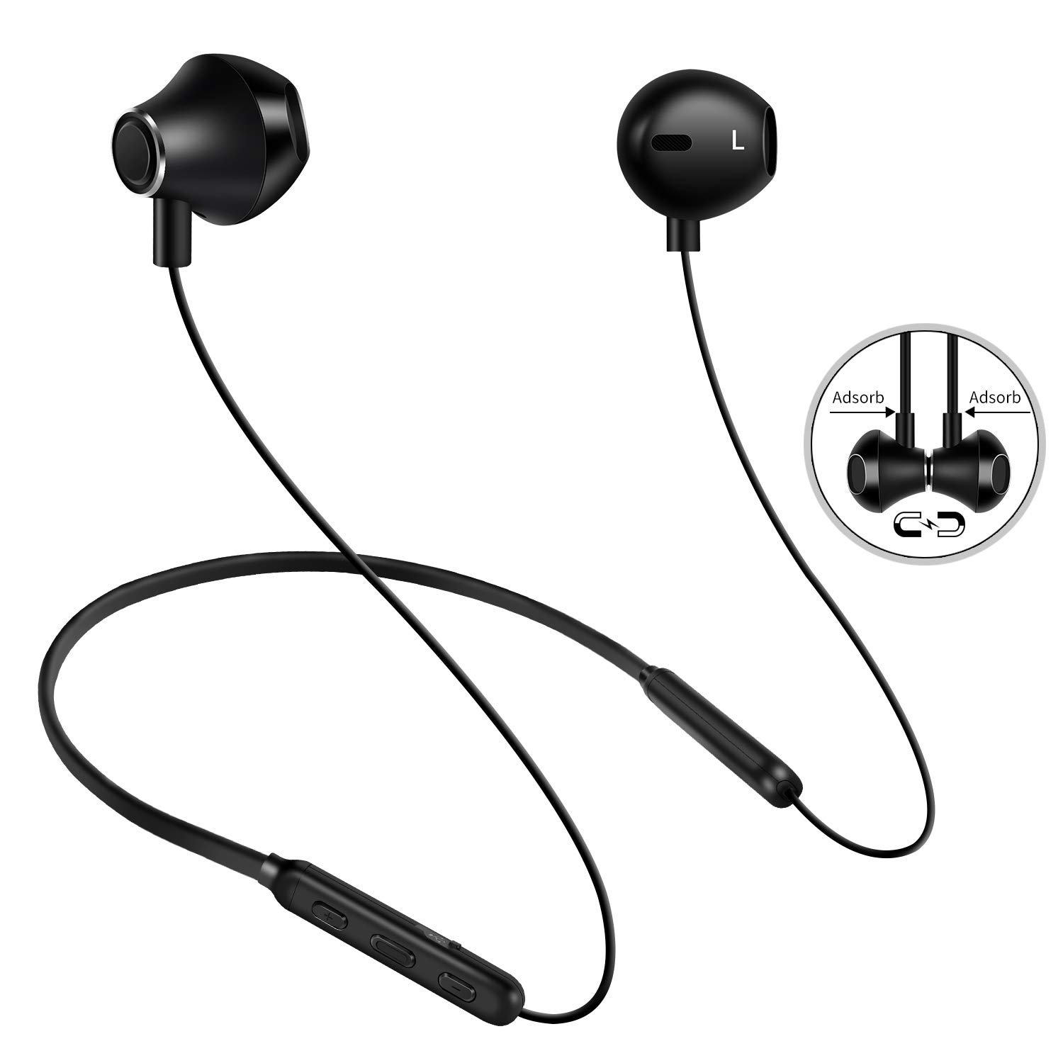 SIQIWO Bluetooth Headphones IPX6 Waterproof Wireless Sports Earbuds. Richer Bass HiFi Stereo in-Ear Earphones, 8Hrs Playback, Gym Running Workout Magnetic Neckband Headsets Black